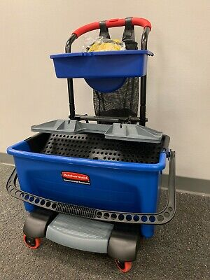 New Rubbermaid Q925 Commercial Microfiber Mob Bucket Mini Cart / Blue