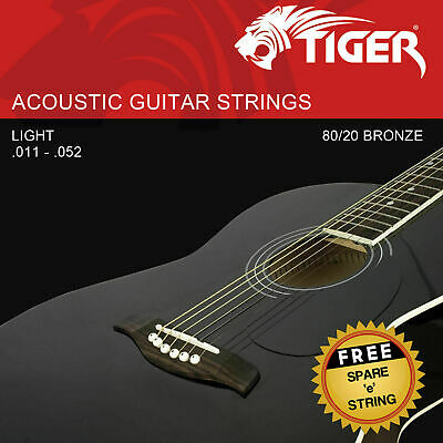 Tiger Acoustic Guitar Strings - Super Light (11-52) - Free 'e' Spare String