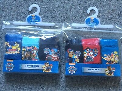 Official Boys Paw Patrol Briefs 18-24mths, 2-3yrs, Knickers, Pants, Xmas Gifts