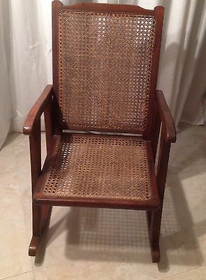Beautiful Amer Antique Child's Wood & Cane Rocker- Excellent Condition-1900-1950