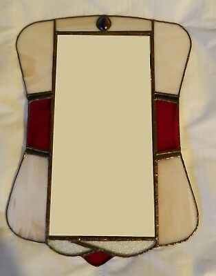 Leadlight / copper foil stained glass hanging mirror :Favrile iridescent glass: