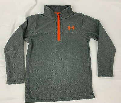 f447d6c8e Under Armour Zip Pullover Boys 7 Quarter Zip Fleece Gray Orange Long Sleeve  Soft