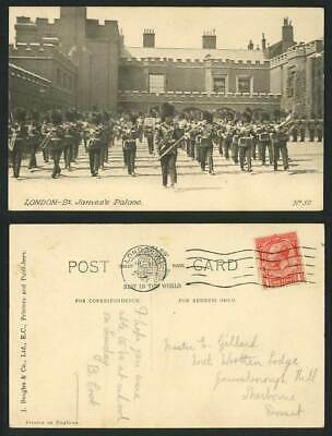 London St. James's Palace, Marching Music Band Parade Guards c.1925 Old Postcard