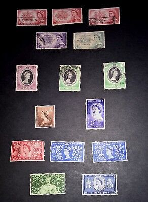 QE 11 1953 Coronation Used Lot 15 Stamps