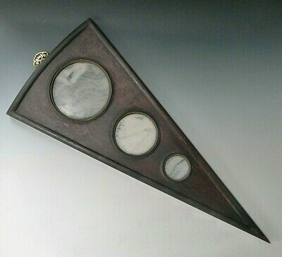 3 x Chinese Dreamstone panels in triangular fan hardwood display - 19th century?