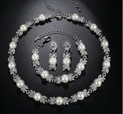 Crystal Leafs & Pearls Necklace Bracelet and Earrings set, Bridal Jewellery Set