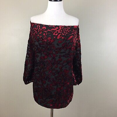 8f1ab8c788539 New Chico s Red Black Velvet Burnout Statement Off The Shoulder Top 3 XL 16  NWT