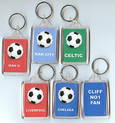 Personalised Own Photo Football Club Name Keyring School Bagtag Gift Any Picture