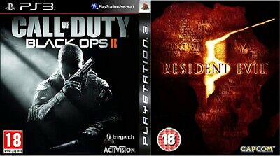 2X PLAYSTATION 3 GAMES Call of Duty Black Ops II & Resident Evil 5 18+ Bundle