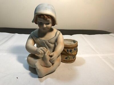 Antique Bisque Porcelain Porcelaine De France vTm Figurine Girl With Barrel