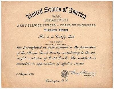 Manhattan Project Service Certificate Awarded to Robert Oppenheimer's Assistant