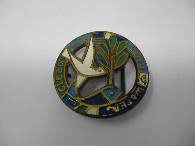 1970 Terra Sancta Guild Brass Enamel Belt Buckle Recycle Land Water Clean Air