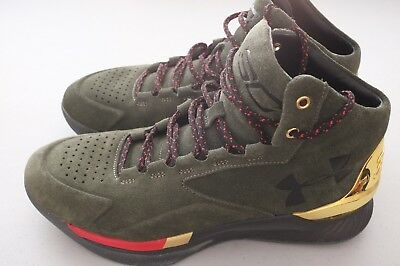 2c5e6cbdf29c Under Armour Steph Curry 1 Lux Mid Suede Shoes Green Gold 1296617-330 Size  8.5