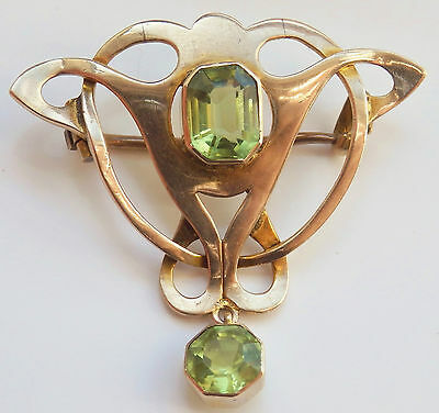 Stunning Antique Victorian Arts & Crafts 9ct Gold Peridot Drop Brooch c1900