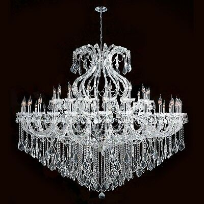 "Maria Theresa Chandelier, W72""x H60"", L49, Chrome Finish, Clear Crystal"