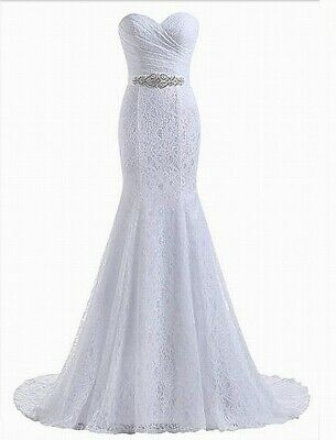 96219f70393 Designer Brand NEW White Womens Size Large L Lace Wedding Gown Dress  200-  999