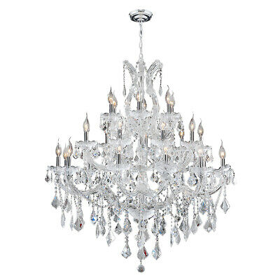 """Maria Theresa Chandelier, W38""""x H42"""", L28, Chrome Finish, Clear Crystal"""