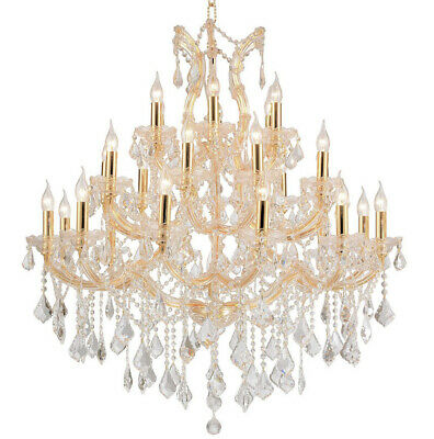 "Maria Theresa Chandelier, W38""x H42"", L28, Gold Finish,Clear Crystal"