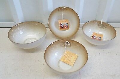 TURKISH DELIGHTS GOLD White GLASS SOUP CEREAL SALAD BOWLS SET OF 4 NEW