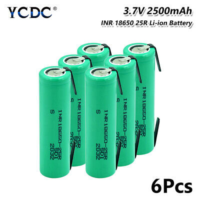 6Pcs Authentic 2500mAh INR 18650 25R High Drain 20A Battery With Tabs For Vape