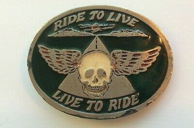 Flying Skull Motorcycle Belt Buckle Instyle 1980 1418 Enamel Harley Live to Ride