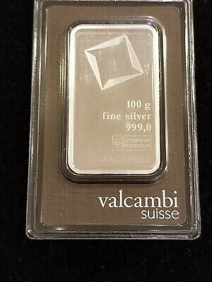 Sealed New Valcambi Suisse Swiss 100 Gram .999 Silver Bar With Assay