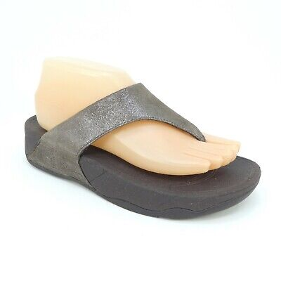 719e7fa0e FitFlop Lulu Shimmer Suede Bronze Thong Flip Flop Sandals Womens Size 7