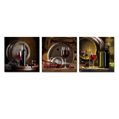 Wall Art Canvas Print Paintings Fruit Grape Red Wine Glass for Kitchen Bar Decor