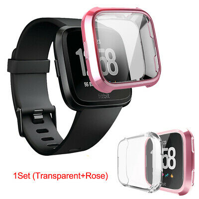 2pcs/Set Soft TPU Full Screen Frame Protective Case Cover For Fitbit Versa Watch