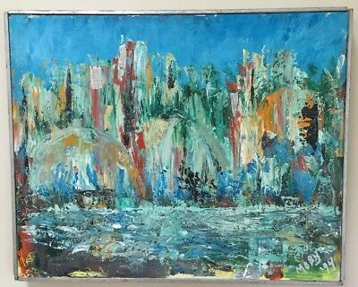 Vintage Mid Century Abstract Cityscape Architectural Oil Painting Signed Framed