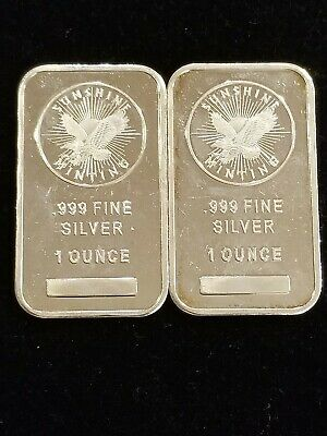 2 -  1 Troy oz Sunshine Mint .999 Fine Silver Bars - Lot