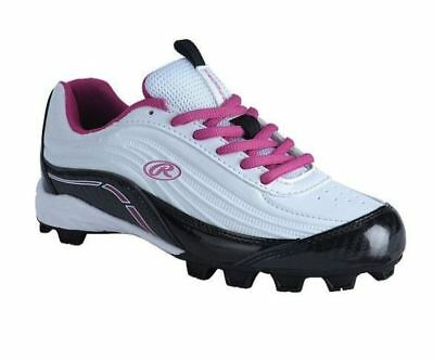 905e583ed046 Rawlings NEW Girls' Motion Low Baseball Softball Cleats White Pink CHOOSE  SIZE