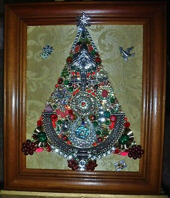 """Jewelry Art Christmas Tree, """"Angels for Christmas"""", signed by Artist"""