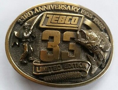 Zebco 33Rd Anniversary 1955-1988 Limited Edition  Belt Buckle  Brass  New  Zebco