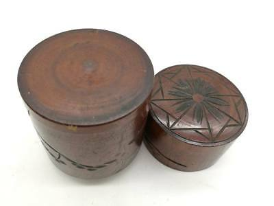 Japanese Wooden CARVED TEA CADDY Chaire Container Tea Ceremony