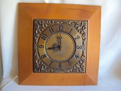 Vintage General Electric Telechron Wall Wood / Brass Clock