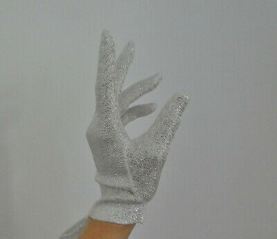 Vintage Ladies Short White & Silver Lurex Gloves Made in Malta Unworn Size 6 1/2
