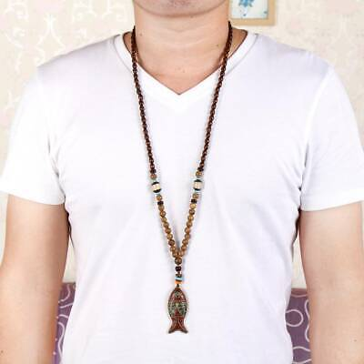Ethnic Style Hand Carved Buddhist Mala Wood Beads Fish Pendant Long Necklace