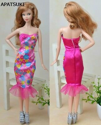 "Pink Sleeveless Long Fitting Dress For 11.5"" Doll Clothes Party Dresses 1:6 Toy"