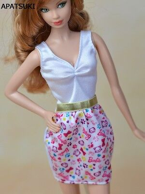"Pink & White Causal Dress For 11.5"" Doll Clothes Mini Dress For 1/6 BJD Doll"