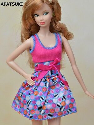 """Pink Blue Bowknot Fashion Doll Clothes Mini Dress For 11.5"""" Dolls Party Dresses"""