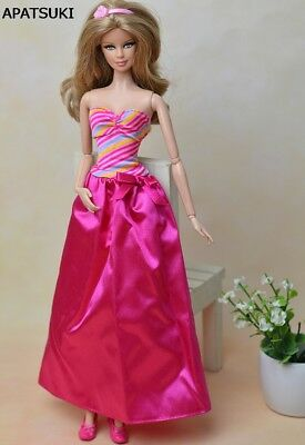 "Pink Fashion Doll Clothes Rainbow Long Evening Dress For 11.5"" Doll Clothes Toy"