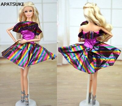 "Purple Rainbow Clothes For 11.5"" Doll Dress Party Gown Short Dresses Handmade"