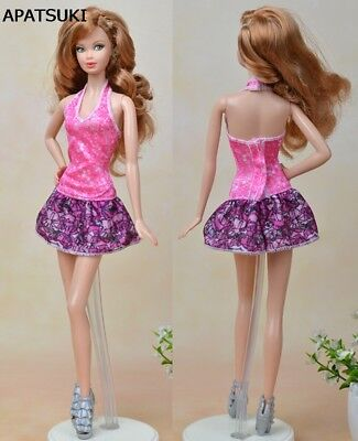 "Pink Purple Fashion Doll Clothes Mini Dress For 11.5"" Doll Clothes 1/6 Kids Toy"