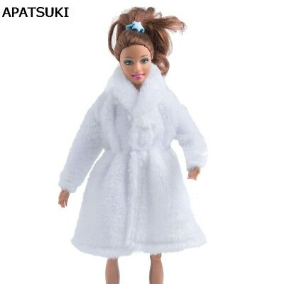 "White Winter Wear Warm Coat For 11.5"" Doll  Dress Fur Doll Clothes 1/6 Kids Toy"