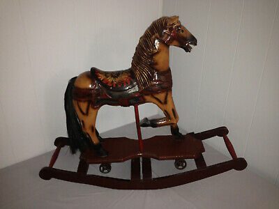 Large Antique Hand-Carved Wooden Rocking Horse Painted Sunflower Saddle 28 x 23