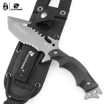 HX OUTDOORS 9.25in Stainless Steel Full Tang Fixed Blade Knife Survival Camping