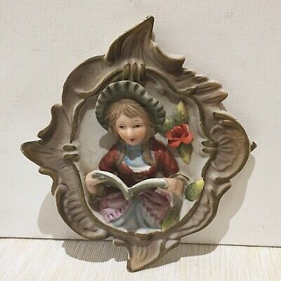 Vintage Victorian  Girl Reading Stone Wall Hanging Ornament