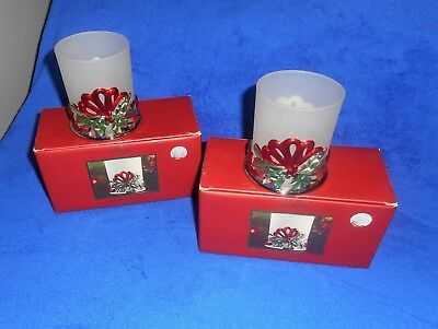 Lot of 2 New In Box Lenox Winter Greetings Christmas Votive Candle Holders