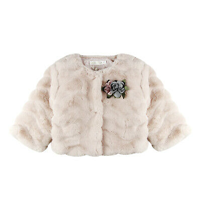 Girls Ultra-Soft Faux-Fur Coat in Pink/White/Red